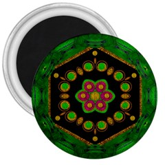 Magic Of Life A Orchid Mandala So Bright 3  Magnets by pepitasart