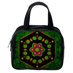 Magic Of Life A Orchid Mandala So Bright Classic Handbags (one Side) by pepitasart