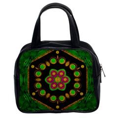 Magic Of Life A Orchid Mandala So Bright Classic Handbags (2 Sides) by pepitasart