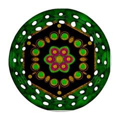 Magic Of Life A Orchid Mandala So Bright Ornament (round Filigree) by pepitasart