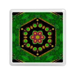 Magic Of Life A Orchid Mandala So Bright Memory Card Reader (square)  by pepitasart