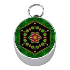 Magic Of Life A Orchid Mandala So Bright Mini Silver Compasses by pepitasart