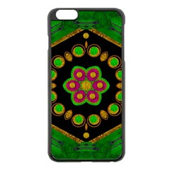 Magic Of Life A Orchid Mandala So Bright Apple Iphone 6 Plus/6s Plus Black Enamel Case by pepitasart