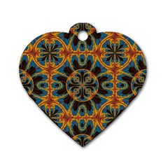 Tapestry Pattern Dog Tag Heart (one Side) by linceazul