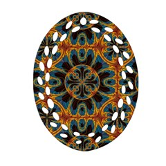 Tapestry Pattern Oval Filigree Ornament (two Sides) by linceazul