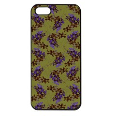 Green Purple And Orange Pear Blossoms  Apple Iphone 5 Seamless Case (black) by ssmccurdydesigns