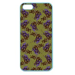 Green Purple And Orange Pear Blossoms  Apple Seamless Iphone 5 Case (color) by ssmccurdydesigns