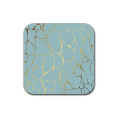 Mint,gold,marble,pattern Rubber Square Coaster (4 Pack)  by 8fugoso