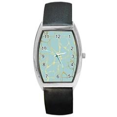 Mint,gold,marble,pattern Barrel Style Metal Watch by 8fugoso