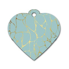 Mint,gold,marble,pattern Dog Tag Heart (one Side)