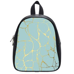 Mint,gold,marble,pattern School Bag (small) by 8fugoso