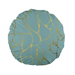 Mint,gold,marble,pattern Standard 15  Premium Round Cushions by 8fugoso