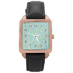 Mint,gold,marble,pattern Rose Gold Leather Watch  by 8fugoso