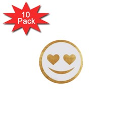Gold Smiley Face 1  Mini Buttons (10 Pack)  by 8fugoso