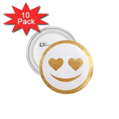 Gold Smiley Face 1 75  Buttons (10 Pack) by 8fugoso