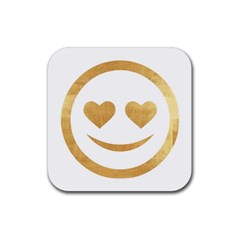 Gold Smiley Face Rubber Square Coaster (4 Pack)  by 8fugoso