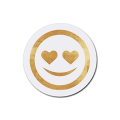 Gold Smiley Face Rubber Coaster (round)  by 8fugoso