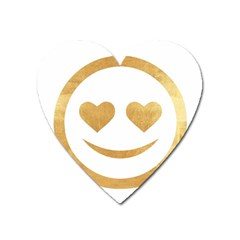 Gold Smiley Face Heart Magnet by 8fugoso