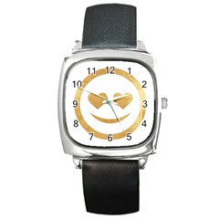 Gold Smiley Face Square Metal Watch by 8fugoso