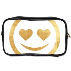 Gold Smiley Face Toiletries Bags by 8fugoso