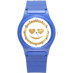 Gold Smiley Face Round Plastic Sport Watch (s) by 8fugoso