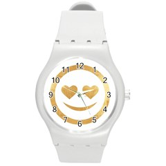 Gold Smiley Face Round Plastic Sport Watch (m) by 8fugoso