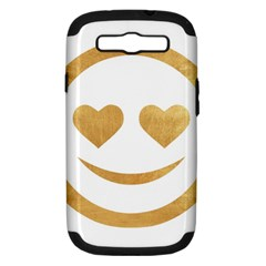 Gold Smiley Face Samsung Galaxy S Iii Hardshell Case (pc+silicone) by 8fugoso