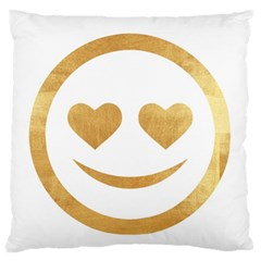 Gold Smiley Face Large Flano Cushion Case (two Sides) by 8fugoso