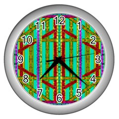 Gift Wrappers For Body And Soul In  A Rainbow Mind Wall Clocks (silver)  by pepitasart