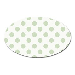 Green Dots Modern Pattern Paper Oval Magnet by Celenk