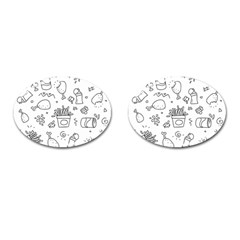 Set Chalk Out Scribble Collection Cufflinks (oval) by Celenk