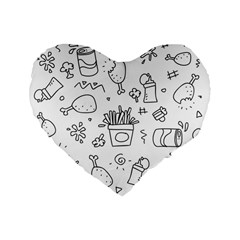 Set Chalk Out Scribble Collection Standard 16  Premium Flano Heart Shape Cushions by Celenk