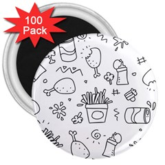 Set Chalk Out Scribble Collection 3  Magnets (100 Pack) by Celenk