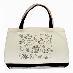 Set Chalk Out Scribble Collection Basic Tote Bag by Celenk