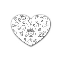 Set Chalk Out Scribble Collection Rubber Coaster (heart)  by Celenk