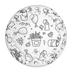 Set Chalk Out Scribble Collection Round Filigree Ornament (two Sides) by Celenk