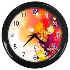 Paint Splash Paint Splatter Design Wall Clocks (black) by Celenk
