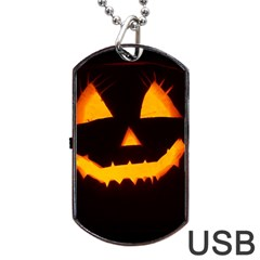 Pumpkin Helloween Face Autumn Dog Tag Usb Flash (two Sides) by Celenk