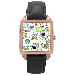 Sketch Set Cute Collection Child Rose Gold Leather Watch  by Celenk