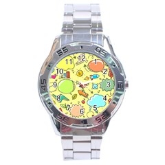 Cute Sketch Child Graphic Funny Stainless Steel Analogue Watch by Celenk