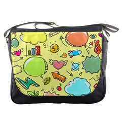 Cute Sketch Child Graphic Funny Messenger Bags by Celenk