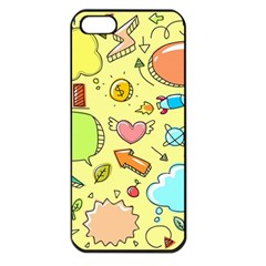 Cute Sketch Child Graphic Funny Apple Iphone 5 Seamless Case (black) by Celenk