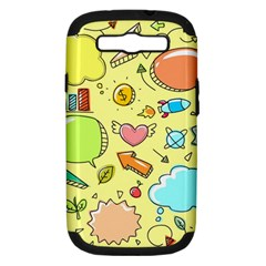 Cute Sketch Child Graphic Funny Samsung Galaxy S Iii Hardshell Case (pc+silicone) by Celenk