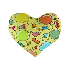 Cute Sketch Child Graphic Funny Standard 16  Premium Flano Heart Shape Cushions by Celenk