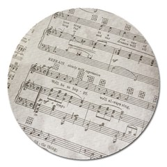 Sheet Music Paper Notes Antique Magnet 5  (round) by Celenk