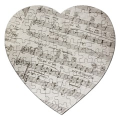 Sheet Music Paper Notes Antique Jigsaw Puzzle (heart) by Celenk