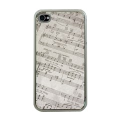 Sheet Music Paper Notes Antique Apple Iphone 4 Case (clear) by Celenk