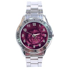 Fractal Blossom Flower Bloom Stainless Steel Analogue Watch by Celenk