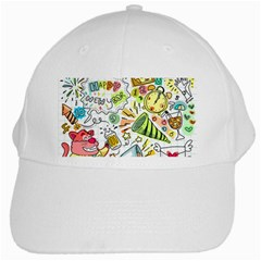 Doodle New Year Party Celebration White Cap by Celenk