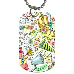 Doodle New Year Party Celebration Dog Tag (two Sides) by Celenk